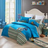 Aladdin's Magic Lamp Aladdins Magic Lamp Teen Boys Bedding Set 4 PCS Twin Bed 100% Cotton-Serenade (4 ft Bed)