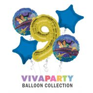 Anagram/ConverUSA Aladdin and The Magic Lamp Happy Birthday Balloon Bouquet 5 pc, 9th Birthday, | Viva Party Balloon Collection