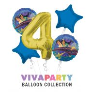 Anagram/ConverUSA Aladdin and The Magic Lamp Happy Birthday Balloon Bouquet 5 pc, 4th Birthday, | Viva Party Balloon Collection