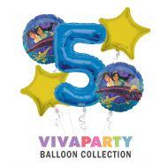 Anagram/ConverUSA Aladdin and The Magic Lamp Happy Birthday Balloon Bouquet 5 pc, 5th Birthday, | Viva Party Balloon Collection