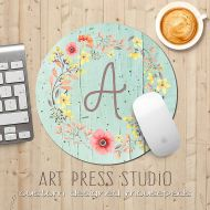 ArtPressStudio Monogrammed Floral Wreath Mousepad, Poppies on Mint Wood, Initial Monogram Mouse Pad, Shabby Chic Mousepad, Boho MousePad, Teachers Gift