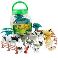 Boley Small Bucket Farm Animal Toys - 40 Piece Farm Animal Toy playset with Animals and Accessories - Small Bucket Allows for Easy Storage and Quick cleanup of Your Childs Pretend