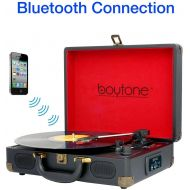 Boytone BT-101BL Bluetooth Turntable Briefcase Record Player AC-DC, Built in Rechargeable Battery, 2 Stereo Speakers 3-Speed, LCD Display, FM Radio, USBSD,RCA, AUX  MP3, Encoding