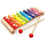 HanYoer Color Wooden Metal Eight-Tone Piano Music Percussion Toy Musical Instrument Gifts