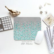 HelloDelicious Mouse Pad Mint Polka Dots Print Mousepad Teal Polka Dots Mouse Mat Polka Mouse Pad Office Mousemat Rectangular Mousemat Mousepad Round 49.