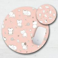 LuckyDogAccess Playful Cats Mouse Pad Coaster Set - Cute Kitties - Cat Lover - Gift For Cat People - Doodle Cats - Cat Sketch - Cat Mouse Pad - Cat Coaster