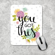 MousePadCenter Floral Mousepad, Quote Mouse Pad, Watercolor Mouse Mat, Custom Mousepad, Wooden Mouse Pad, Inspirational Quote Mousepad, Motivational Quote