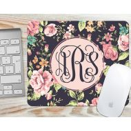 SimplyCustomizedEtsy Pretty Floral Roses Monogrammed Mouse Pad - Personalized Mousepad - Desk Accessory Gift 7024R