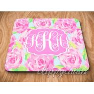 Clippycabin Monogram Mouse Pad Monogram Mousepad Roses Mousepad Custom Mousepad Personalized Mouse Pad Monogram Gift Pink Roses Floral Mouse Pad Flowers