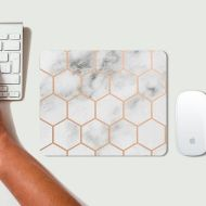 SjillustrationShop White Marble Hexagon Rose Gold Mouse Mat - Mousepad -modern - gift - Geometric Pattern - Geo Design - High quality PC accessorie - Rectangle