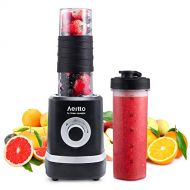 Personal Blender, Portable Smoothies Blender Single Serve Small Mixer Maker for Shakes Frozen Fruit Juice Baby Food with 2 BPA-Free Tritan Bottles, 18oz 350W, by Aeitto
