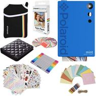 Polaroid Mint Instant Digital Camera (Blue) Gift Bundle + Paper (20 Sheets) + Deluxe Pouch + 9 Fun Sticker Sets + Twin Tip Markers + Photo Album + Hanging Frames + 100 Sticker Fram