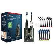 Pursonic PURSONIC S522 Dual Handle Ultra High Powered Sonic Electric Toothbrush with Dock Charger, 12 Brush Heads & More! (Black and Zebra)