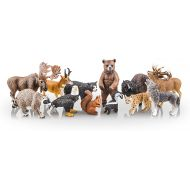 TOYMANY 12PCS North American Forest Animal Figurines, Realistic Safari Animal Figures Set Includes Raccoon,Lynx,Wolf,Bear,Eagle, Educational Toy Cake Toppers Christmas Birthday Gif