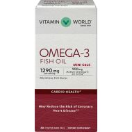 Vitamin World Omega-3 Fish Oil Premium Coated Mini Gels 900mg